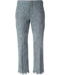 Pantalon slim à carreaux blanc et bleu Chloé