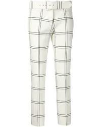 Pantalon slim à carreaux blanc et noir
