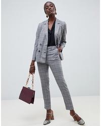 Pantalon slim à carreaux gris Warehouse