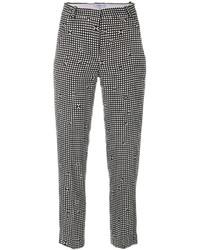 Pantalon slim à carreaux noir et blanc Carven