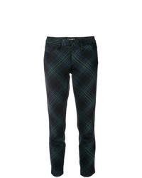Pantalon slim à carreaux vert foncé Cambio