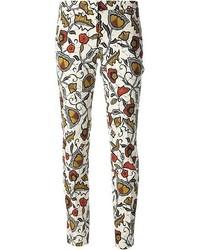 Pantalon slim à fleurs blanc