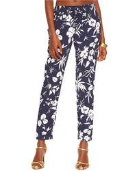 Pantalon slim à fleurs bleu marine