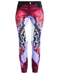 Pantalon slim à fleurs bleu marine Versace