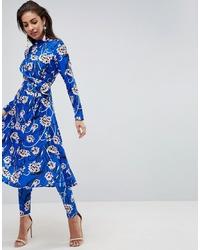 Pantalon slim à fleurs bleu ASOS DESIGN