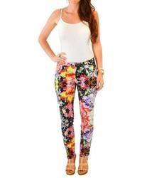 Pantalon slim à fleurs noir