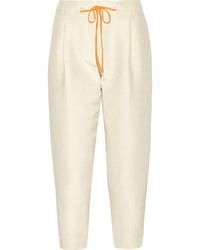 Pantalon slim á pois marron clair