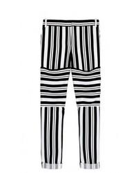 Pantalon slim à rayures horizontales noir et blanc