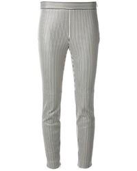 Pantalon slim à rayures verticales blanc et noir