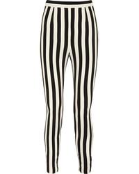 Pantalon slim à rayures verticales blanc et noir Dolce & Gabbana
