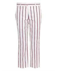 Pantalon slim à rayures verticales blanc et rouge