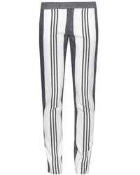 Pantalon slim à rayures verticales blanc