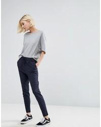Pantalon slim à rayures verticales bleu marine