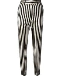 Pantalon slim à rayures verticales noir et blanc