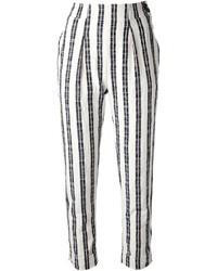 Pantalon slim à rayures verticales noir et blanc Kenzo