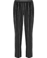 Pantalon slim à rayures verticales noir