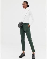 Pantalon slim à rayures verticales vert foncé Jdy