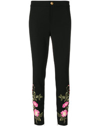 Pantalon slim brodé noir Gucci
