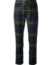 Pantalon slim écossais bleu marine et vert