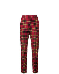 Pantalon slim écossais bordeaux Ermanno Scervino