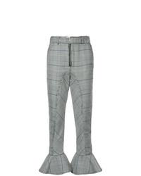 Pantalon slim écossais gris Self-Portrait