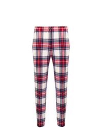 Pantalon slim écossais rouge Boutique Moschino