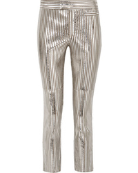 Pantalon slim en cuir à rayures verticales argenté Isabel Marant