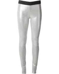 Pantalon slim en cuir argenté