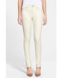 Pantalon slim en cuir blanc
