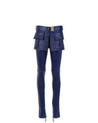 Pantalon slim en cuir bleu marine Andrea Bogosian