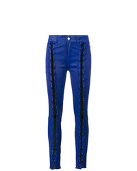 Pantalon slim en cuir bleu marine Filles a papa