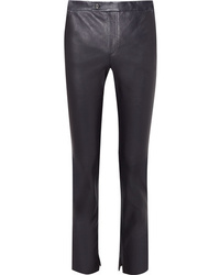 Pantalon slim en cuir bleu marine Helmut Lang