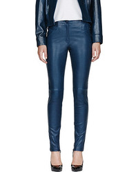 Pantalon slim en cuir bleu marine Thierry Mugler