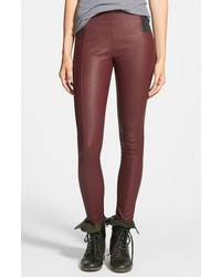 Pantalon slim en cuir bordeaux