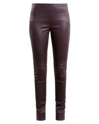 Pantalon slim en cuir bordeaux Bruuns Bazaar