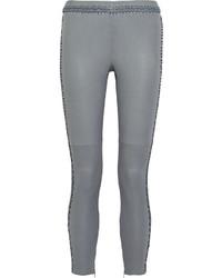 Pantalon slim en cuir gris