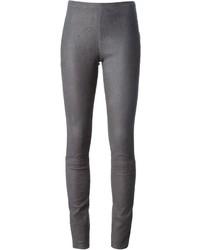 Pantalon slim en cuir gris Haider Ackermann