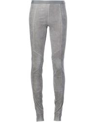 Pantalon slim en cuir gris Ilaria Nistri