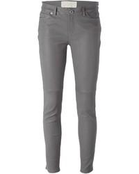 Pantalon slim en cuir gris MICHAEL Michael Kors