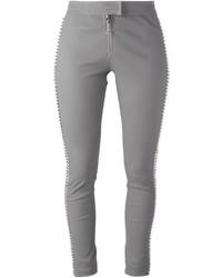 Pantalon slim en cuir gris Philipp Plein