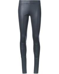 Pantalon slim en cuir gris Sylvie Schimmel