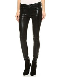 Pantalon slim en cuir imprimé serpent noir True Religion