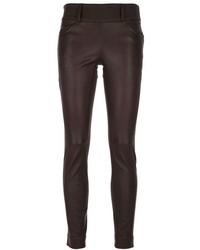 Pantalon slim en cuir marron foncé Brunello Cucinelli