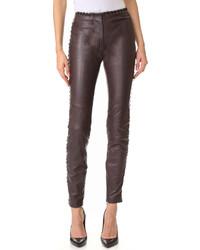 Pantalon slim en cuir marron foncé Just Cavalli