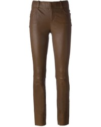 Pantalon slim en cuir marron foncé