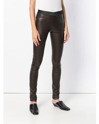 Pantalon slim en cuir marron foncé Drome