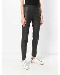 Pantalon slim en cuir marron foncé P.A.R.O.S.H.