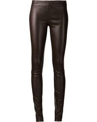 Pantalon slim en cuir marron foncé The Row