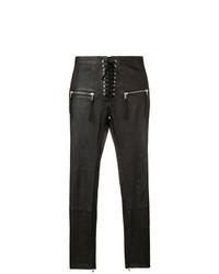 Pantalon slim en cuir marron foncé Unravel Project