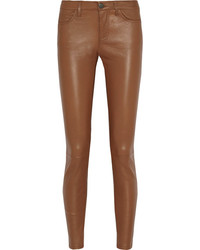 Pantalon slim en cuir marron